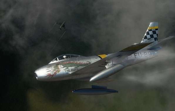 Picture fighter, art, American, jet, North American, The MiG-15, the huff, Sabre, Fagot, F-86