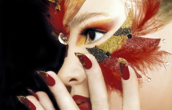 Picture look, girl, face, style, hand, feathers, makeup, manicure