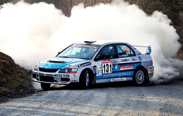 Picture Auto, White, Machine, Turn, Skid, Mitsubishi, Lancer, Evolution, WRC, Rally, Rally, Lancer