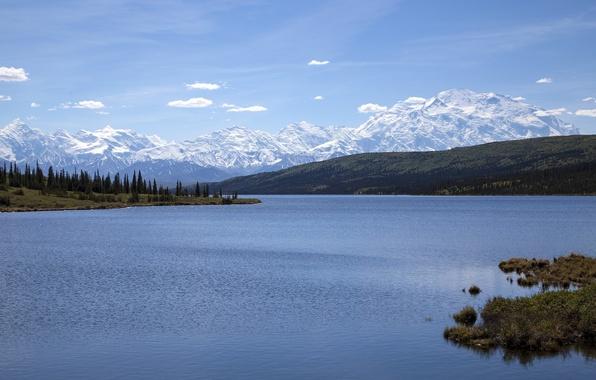 Picture mountains, Alaska, Alaska, Denali National Park, water surface, Alaska range, Denali national Park, lake vonder, …