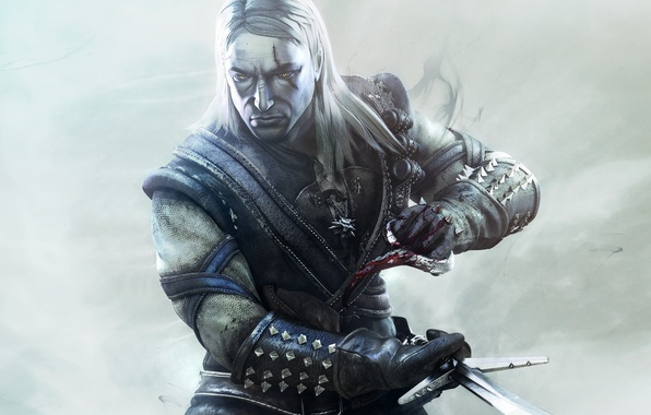 Picture blood, Wallpaper, the game, sword, game, the Witcher, killer, The witcher
