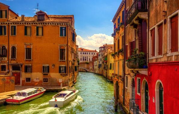 Picture the sky, home, boat, Italy, Venice, channel, the bridge, Italy, Venice, Venice
