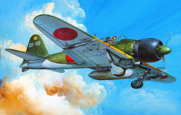 Picture figure, fighter, art, Mitsubishi, the plane, Japanese, deck, times, The second world war, A6M5c, Zerosen
