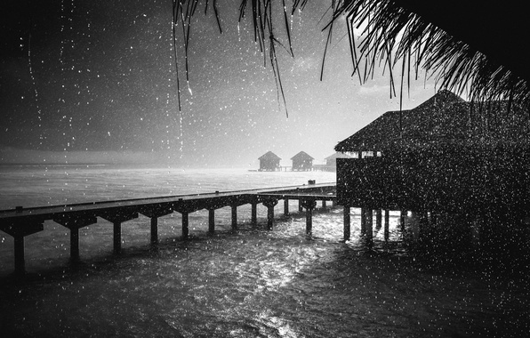 Picture night, rain, the ocean, Bungalow, Rain, Maldives, Fuji, Pris