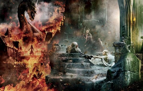 Picture Dragon, Fire, Wallpaper, Gandalf, Ian McKellen, Benedict Cumberbatch, Hugo Weaving, Weapons, Galadriel, Smaug, Sword, Elrond, …