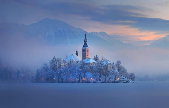 Picture winter, mountains, fog, lake, island, home, Church, Slovenia, Bled