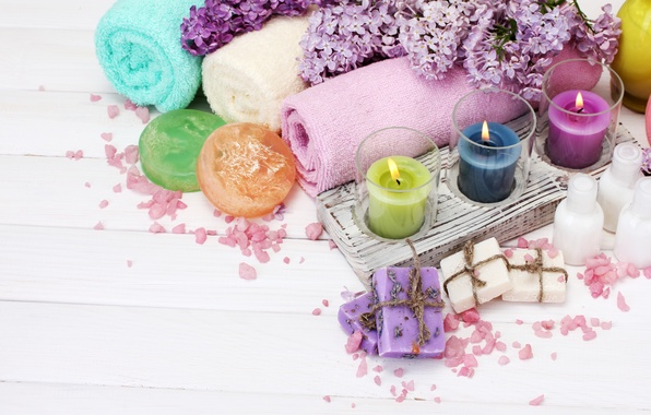 Picture flowers, candles, petals, spa, lilac