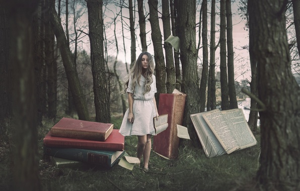 Picture forest, girl, books