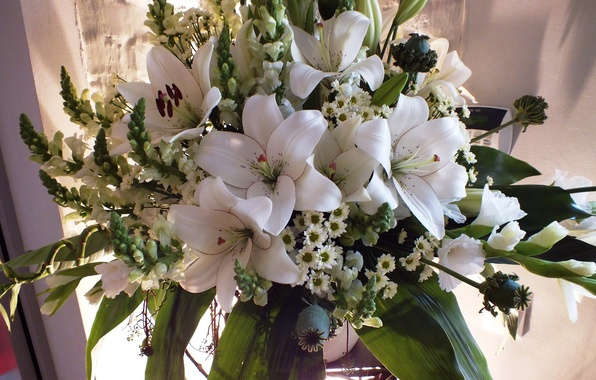 Picture photo, Flowers, White, Bouquet, Chrysanthemum, Lily, Gladiolus