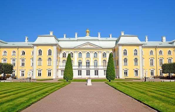 Picture lawn, track, Saint Petersburg, Russia, Palace, sculpture, Peterhof