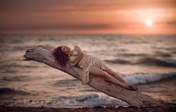 Picture girl, shore, dress, surf, legs, Dennis Drozhzhin