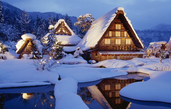 Picture winter, snow, Japan, houses, japan