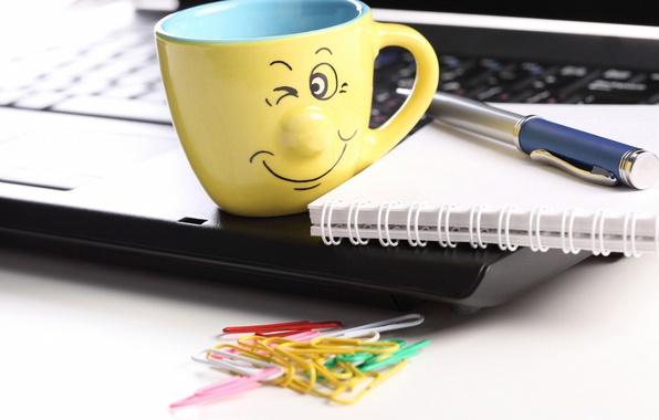 Picture creative, positive, blur, handle, smile, Cup, Notepad, laptop, notebook, smile, hi-tech, bokeh, clip, laptop, wallpaper., …