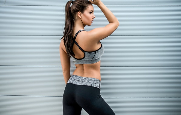 Picture girl, face, background, back, figure, fitness, Janna Breslin