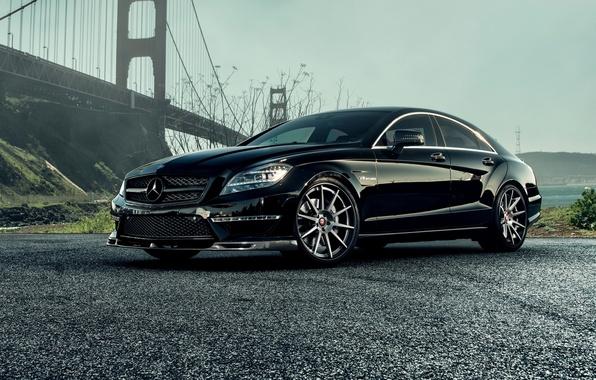 Picture Mercedes-Benz, AMG, Black, Sedan, C218, CLS 63, 2015, CLK-Class