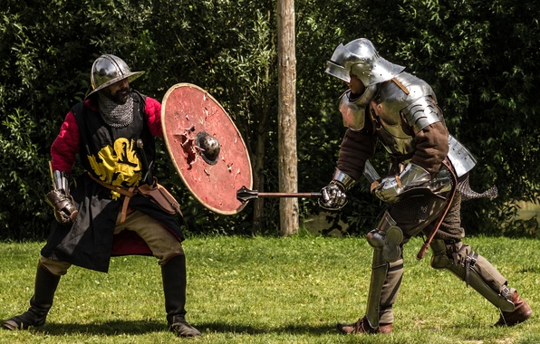 Picture weapons, armor, battle, warriors, knights
