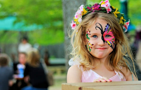 Picture butterfly, girl, wreath, face art