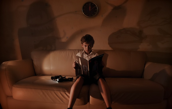 Picture sofa, watch, the evening, shadows, reading, reader xstoria