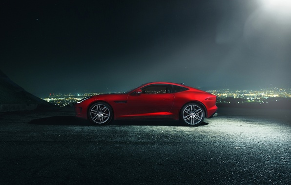 Picture Jaguar, Dark, City, Red, Car, Coupe, Side, F-Type R, Nigth