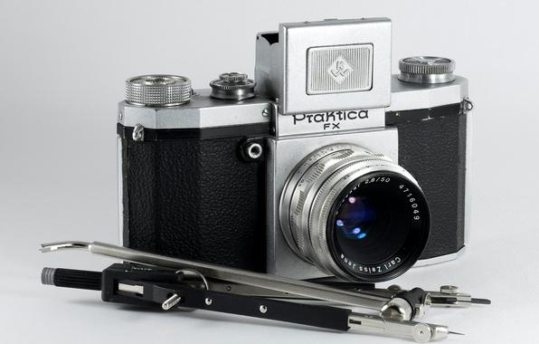 Picture retro, camera, the compass, Praktica, Carl Zeiss