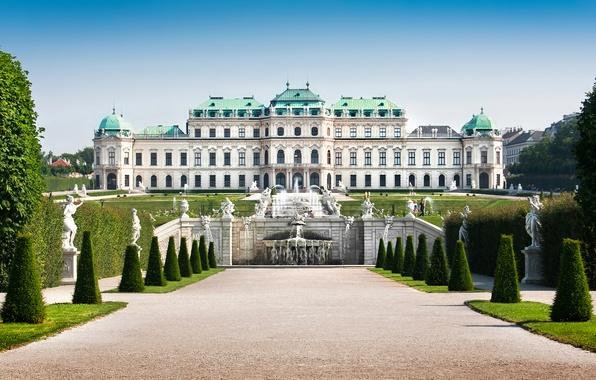Picture trees, design, lawn, Austria, the bushes, fountains, Palace, sculpture, Vienna