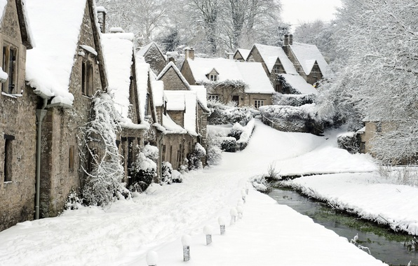 Picture winter, snow, England, village, Bibury