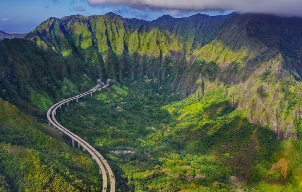 Picture road, mountains, highway, Hawaii, the island of Oahu