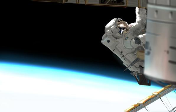 Picture space, figure, planet, astronaut, station, the suit, art, orbit, astronaut