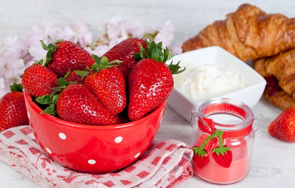 Picture berries, table, towel, strawberry, plate, croissants, jar, sour cream
