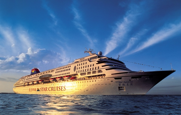 Picture sunset, photo, Sea, Ship, Dawn, Cruise liner
