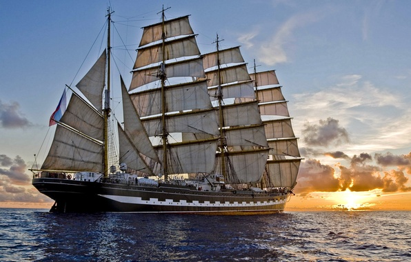 Picture sea, sunset, ship, sailboat, the evening