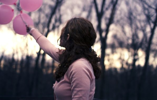 Picture leaves, girl, the sun, balls, trees, branches, nature, balloons, background, widescreen, Wallpaper, pink, mood, back, …