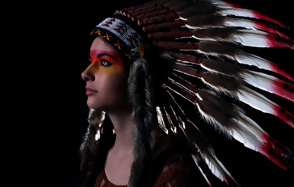 Picture look, girl, face, style, feathers, headdress