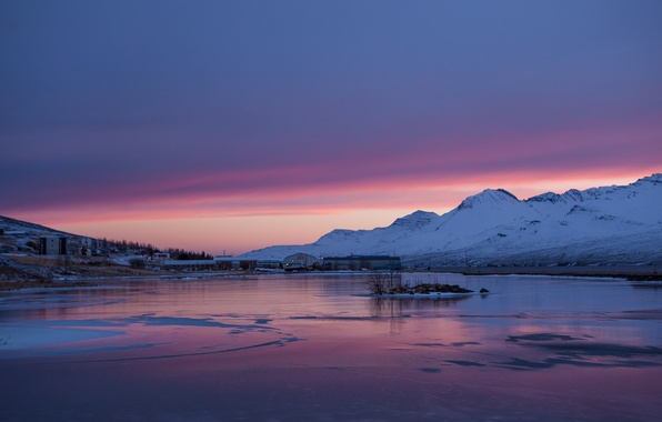 Picture ice, the sky, snow, sunset, mountains, lake, shore, the evening, Iceland