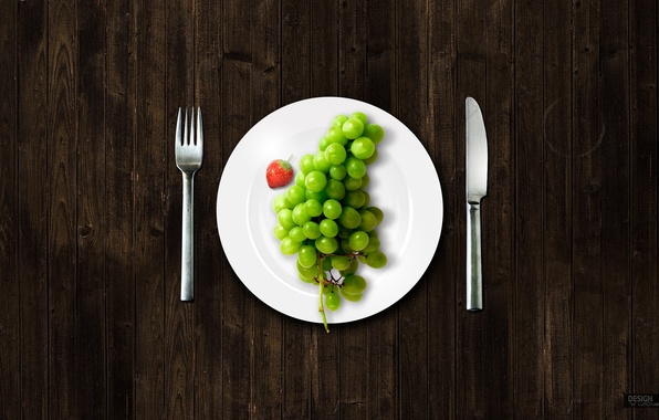 Picture plate, grapes, plug, knife