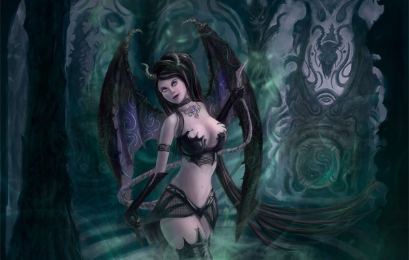 Picture look, decoration, face, wings, art, succubus