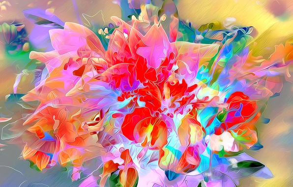 Picture flowers, nature, rendering, bouquet, petals