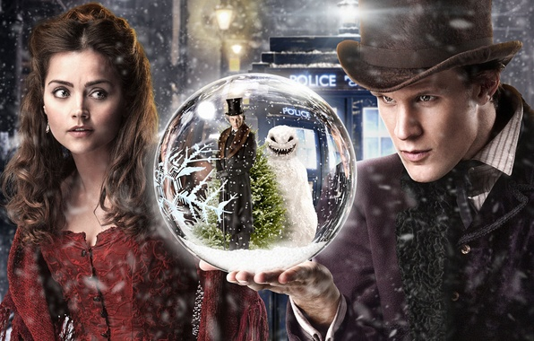 Picture girl, snow, street, people, tree, ball, hat, lights, snowman, booth, Doctor Who, Doctor Who, Matt …