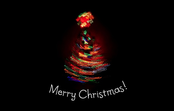 Picture light, lights, holiday, tree, new year, spruce, black background, new year, merry christmas, holiday