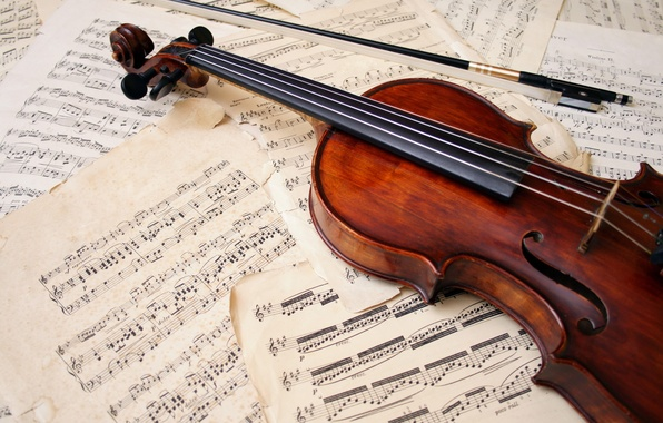 Picture notes, violin, leaves, bow, musical instrument