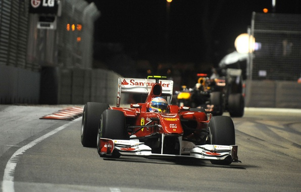 Picture The evening, Photo, Lights, Night, Race, Track, 2010, Formula-1, Fernando Alonso, Wallpapers, The car, Fernando …