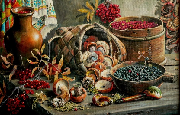 Picture berries, mushrooms, art, still life, Andrey Lyakh