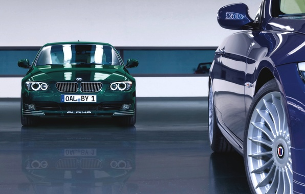 Picture Reflection, Auto, Blue, BMW, Green, Machine, BMW, Lights, alpina, The front, 3 serie