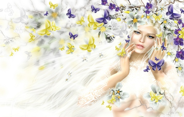 Picture girl, butterfly, flowers, hair, spring, blonde, wreath