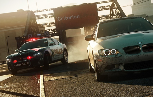Picture the city, race, bmw, police, chase, Dodge Charger, need for speed most wanted 2