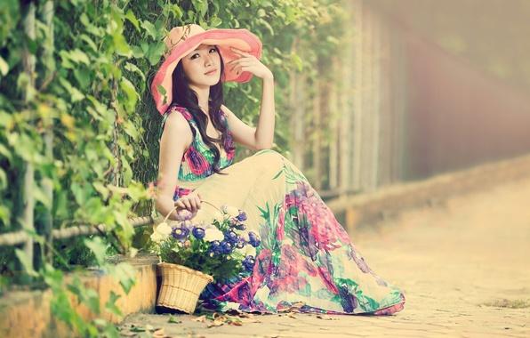 Picture girl, street, basket, hat, dress, Asian