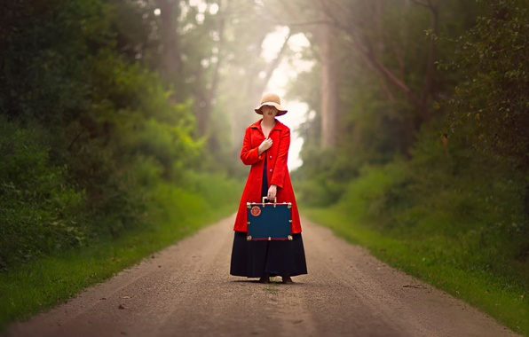 Picture road, girl, suitcase, hat, in red