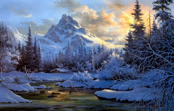 Picture winter, forest, snow, landscape, sunset, mountains, nature, river, smoke, ate, the snow, hut, painting, hut, ...