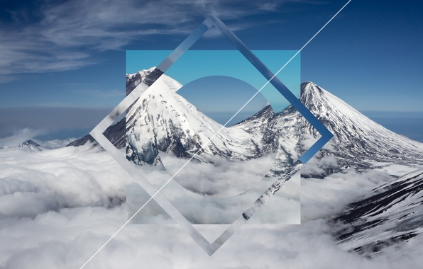 Wallpaper snow, abstract, geoshapes, geometry, mountain ...