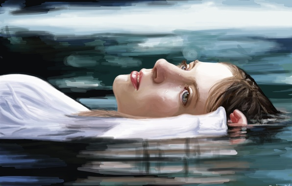 Picture water, girl, face, reflection, hand, art, lies, blue eyes, painting